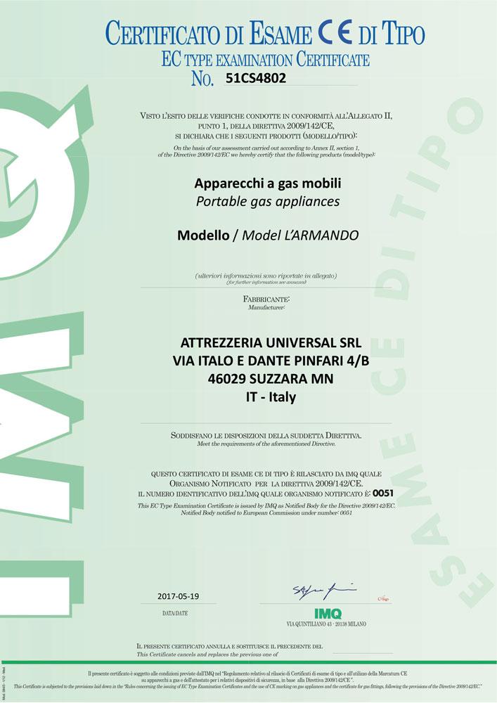 GRILIOO barbecue - certificazione IMQ